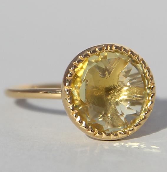 Silberring vergoldet mit Lemonquarz | Spring sparkle