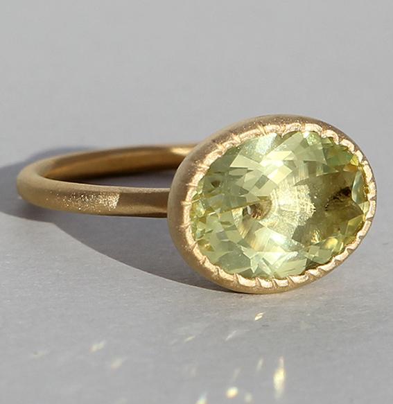 Silberring vergoldet Lemonquarz | Aldebaran