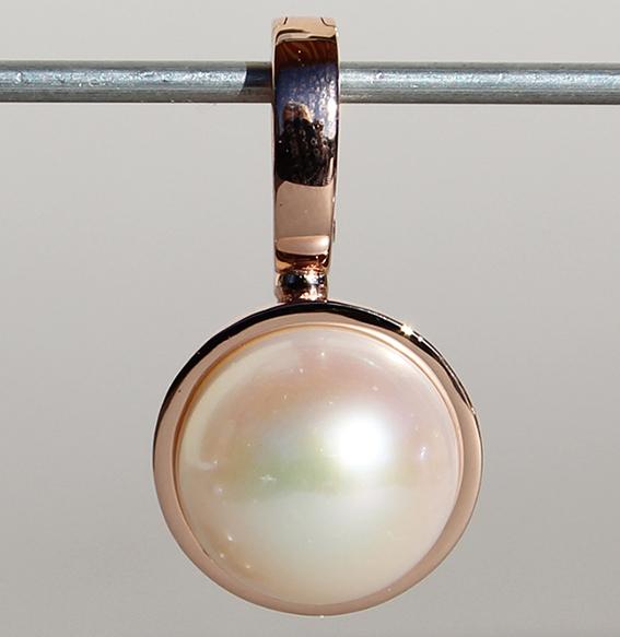 Silberanhänger mit Mabe Perle rosé vergoldet | Button
