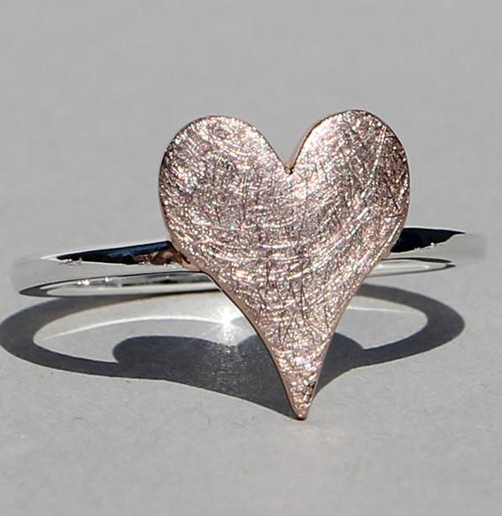 Silberring rosé vergoldet   sharp heart