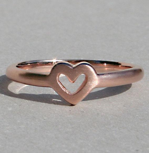 Silberring Single Heart | rosé vergoldet matt