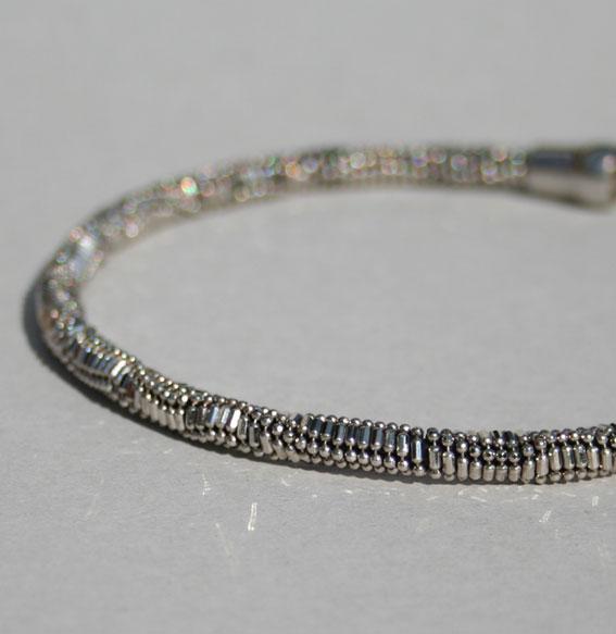 Silberkette -Kugel Kombi- 5 mm   geschwärzt