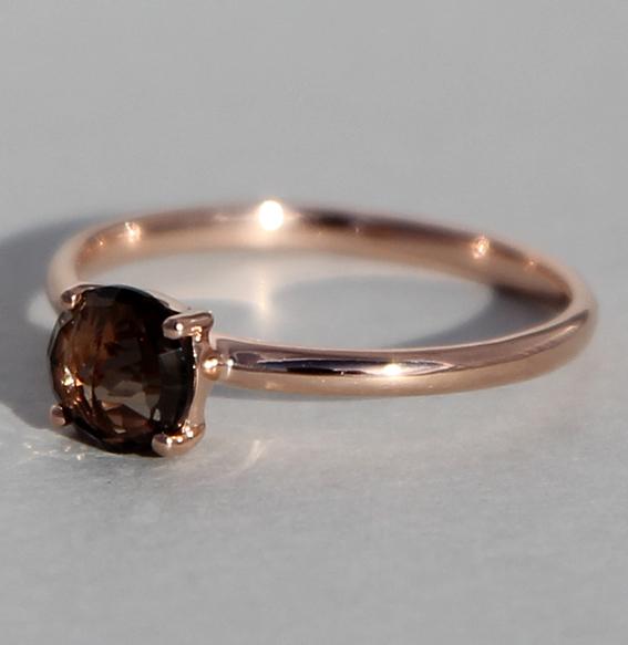 Silberring rosé vergoldet Rauchquarz | Krone fac.