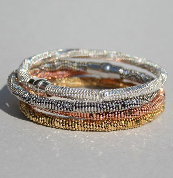 Silberarmband -Kugel-Kombi- 5 mm geschwärtzt
