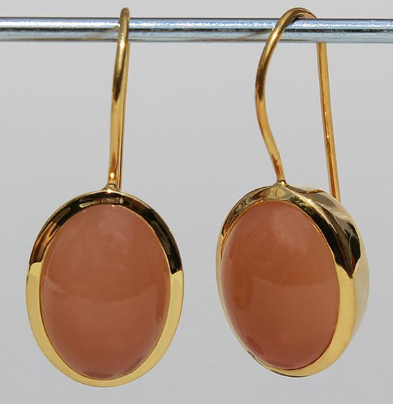 Silberohrhänger vergoldet mit Mondstein orange