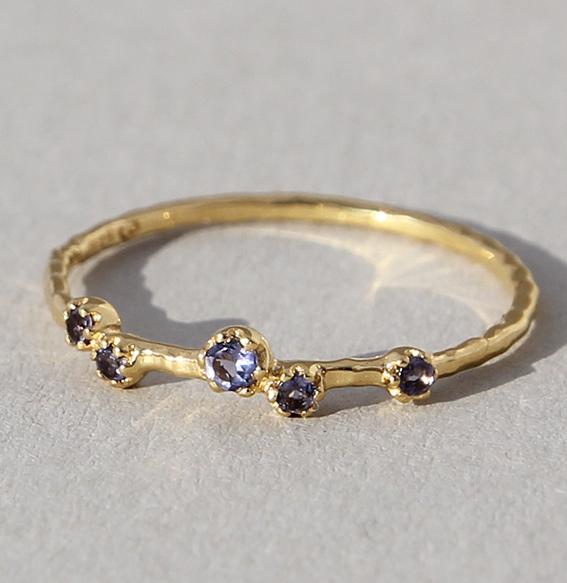 Silberring vergoldet mit Iolith