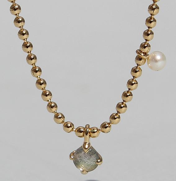 Silbercollier mit Labradorit und SWZ Perle vergoldet| Moon