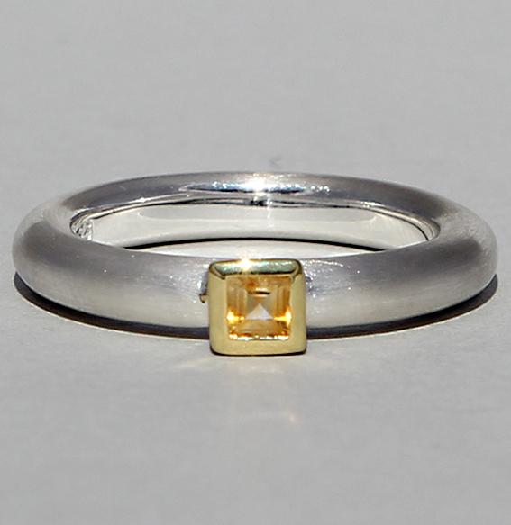 Silberring teilvergoldet mit Citrin   Strack smal