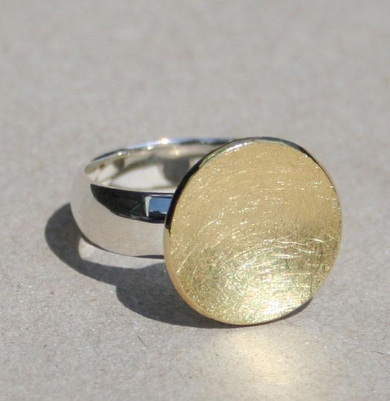 Silberring Schale klein | vergoldet