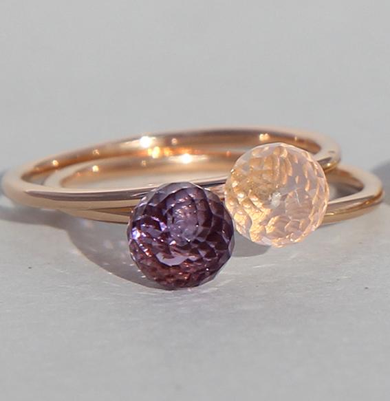 Silberring rosé vergoldet Rosenquarz   Ball