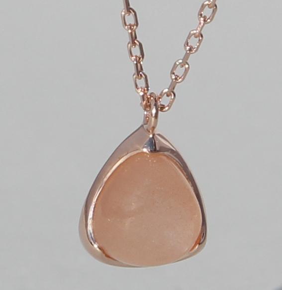 Silbercollier rosé vergoldet mit Mondstein orange   Fine Triangle