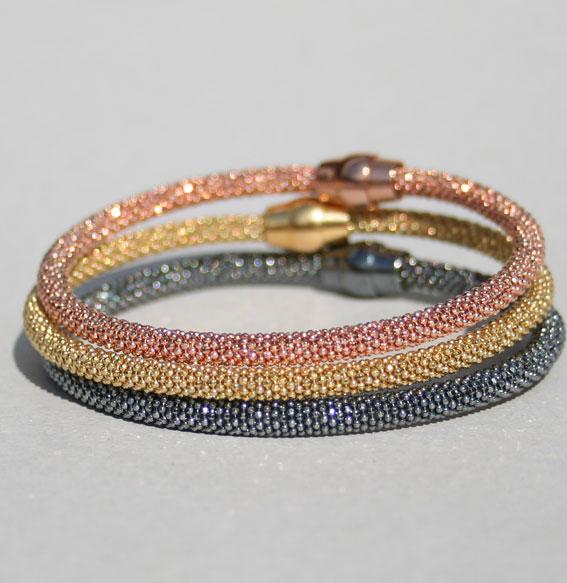 Silberarmband rosé vergoldet -Kugel- 4 mm