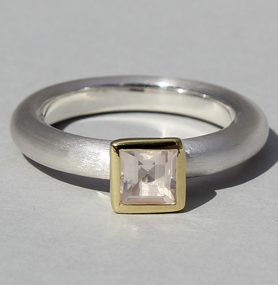 Silberring teilvergoldet mit Rosequarz | Strack big