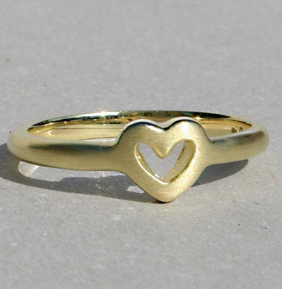Silberring Single Heart | vergoldet matt