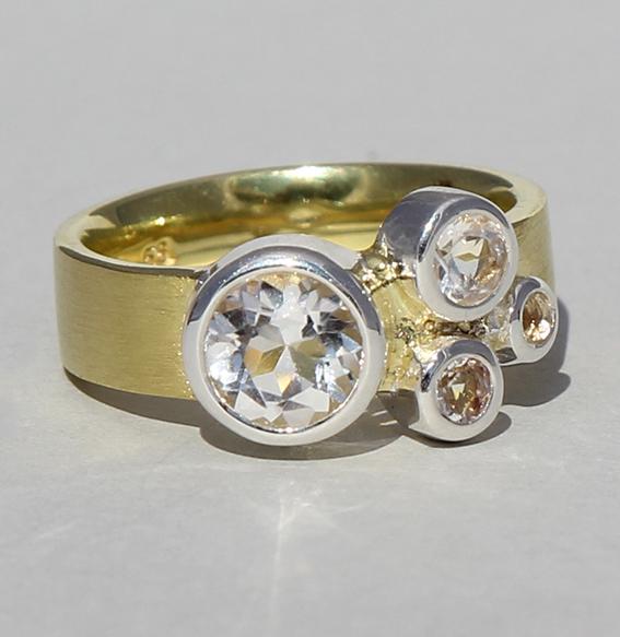 Silberring vergoldet mit Bergkristall | Cocktail