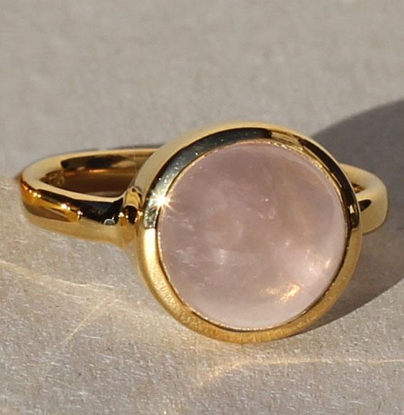 Silberring vergoldet mit Rosenquarz