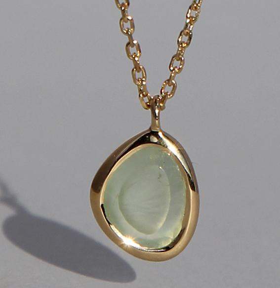 Silberanhänger vergoldet mit Prehnit | fine sparkle