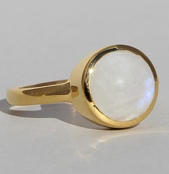 Silberring vergoldet mit Mondstein