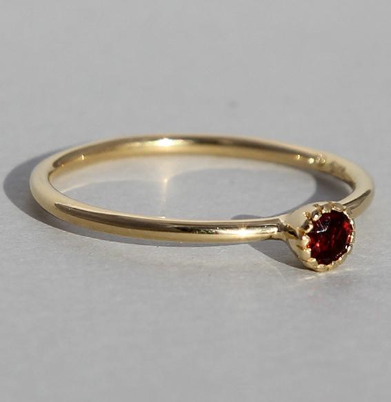 Silberring vergoldet Granat | Krönchen klein