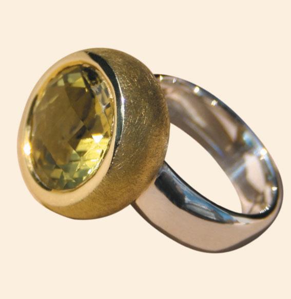 Silberring vergoldet, Lemonquarz
