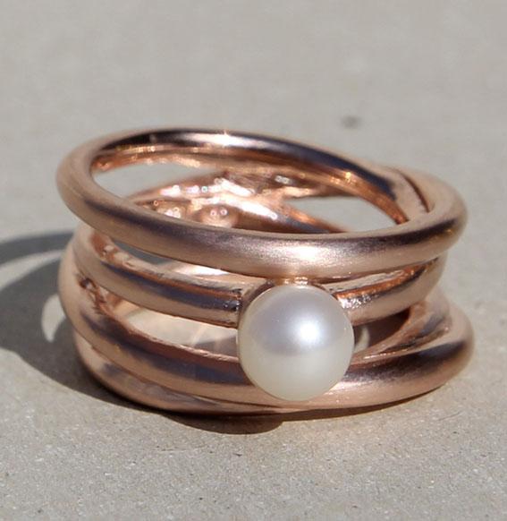 Silberring rosé vergoldet mit SWZ Perle | Cluster schmal