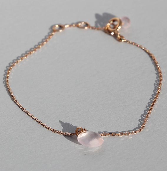 Silberarmband Rosenquarz rosé vergoldet