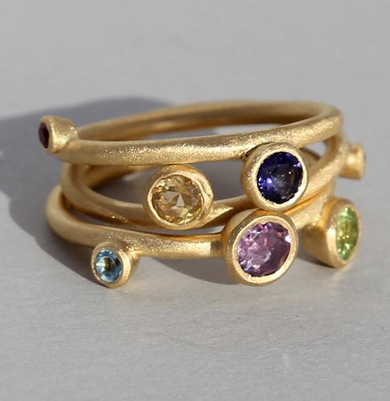 Silberring vergoldet 3-teilig   Sparkel mit div. Steinen