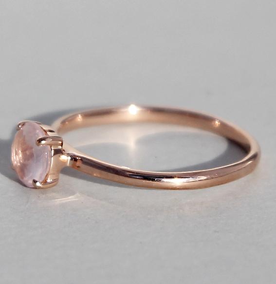Silberring rosé vergoldet Rosenquarz | Krone fac.
