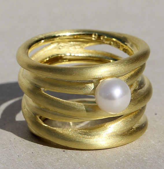 Silberring vergoldet mit SWZ Perle   Cluster