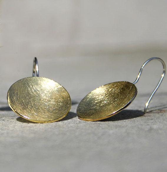 Silberohrhänger Schale |vergoldet