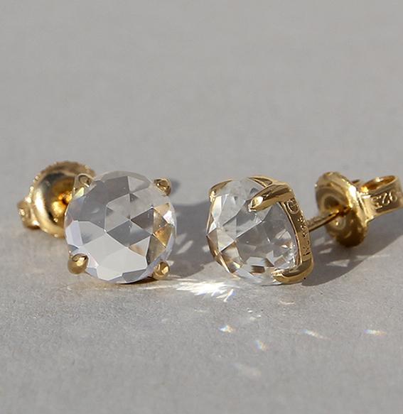 Silberohrstecker vergoldet mit Bergkristall