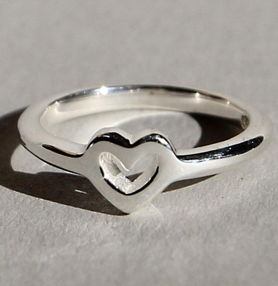 Silberring Single Heart   poliert