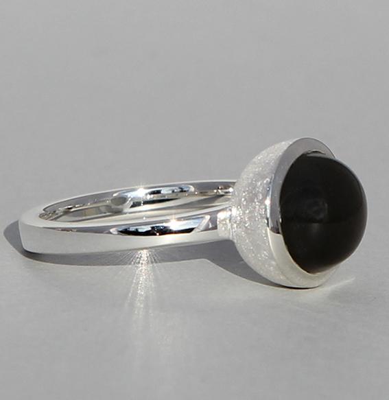 Silberring   Cup mit Mondstein grau