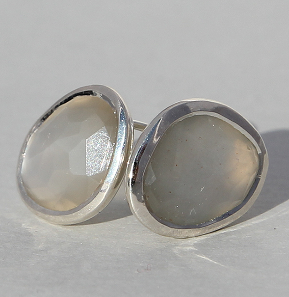 Silberohrstecker mit Mondstein grau   Fine sparkle big