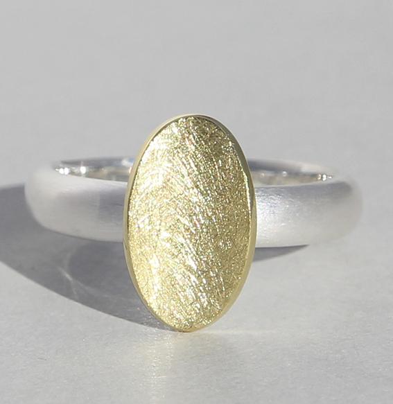 """Silberring """"Wanne """" vergoldet"""