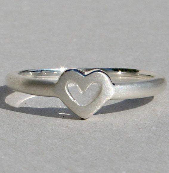 Silberring Single Heart | matt