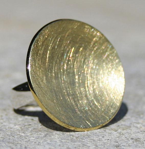 Silberring Schale vergoldet