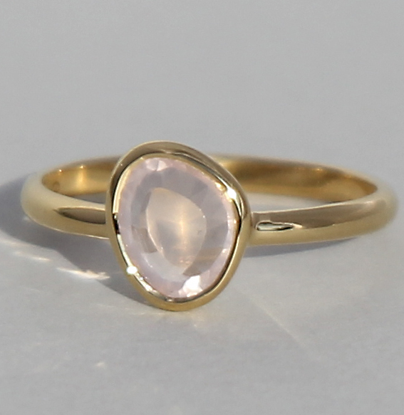 Silberring vergoldet mit Rosenquarz | fine sparkle