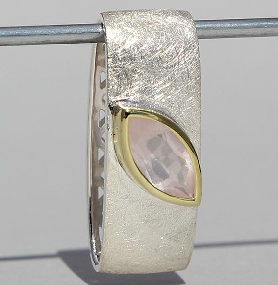 Silberanhänger teilvergoldet mit Rosenquarz | Mathilda