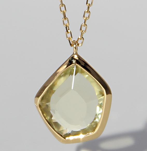 Silberanhänger mit Lemonquarz | Pentagon (Abbildung vergoldet)
