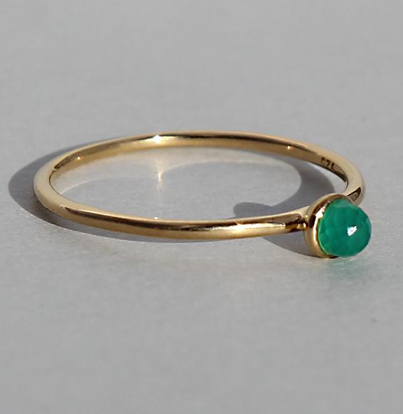 Silberring vergoldet Achat grün gefärbt   Micro