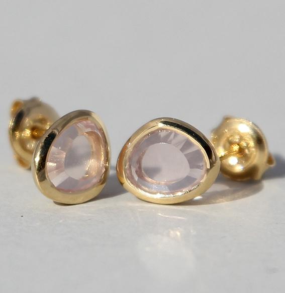 Silberohrstecker vergoldet mit Rosenquarz   fine sparkle