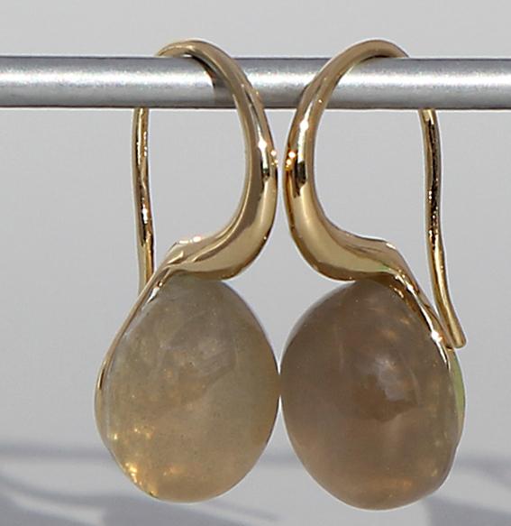 Silberohrhänger vergoldet   Pear mit Mondstein grau